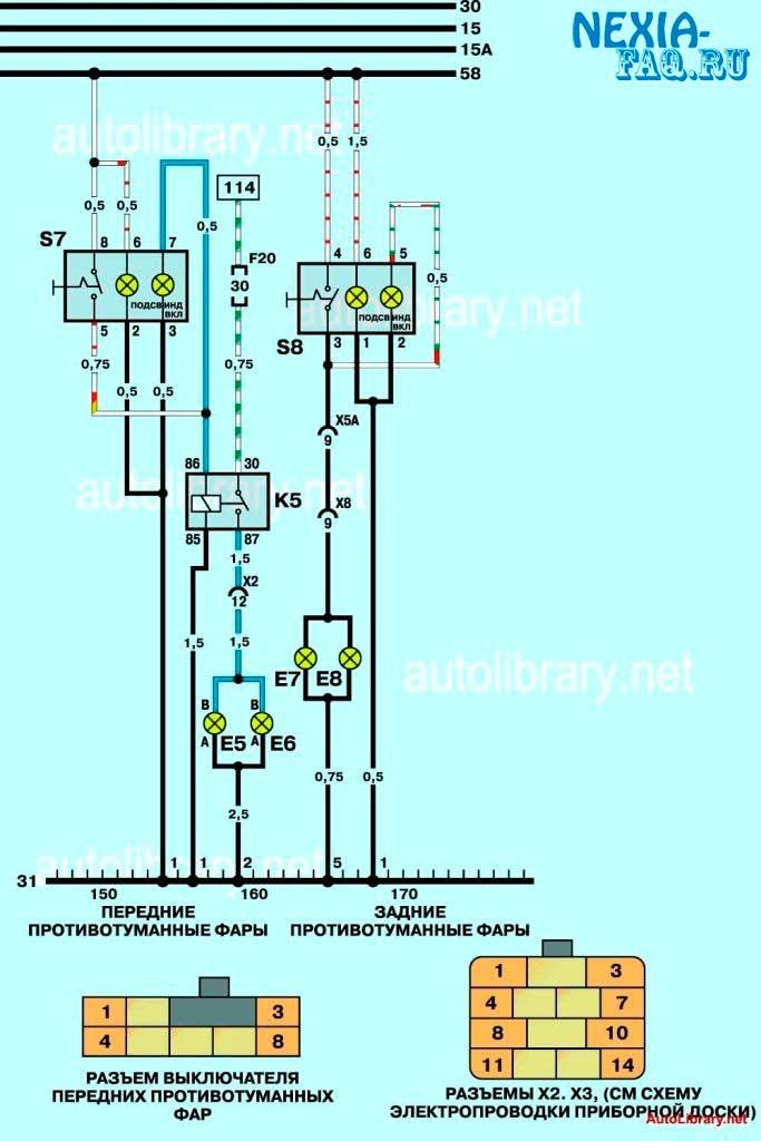 Исходная схема подключения ПТФ