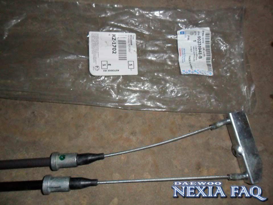 Замена троса стояночного тормоза на нексии (nexia)